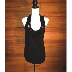 Cynthia Steffe Black Sleeveless Blouse w/ Beads